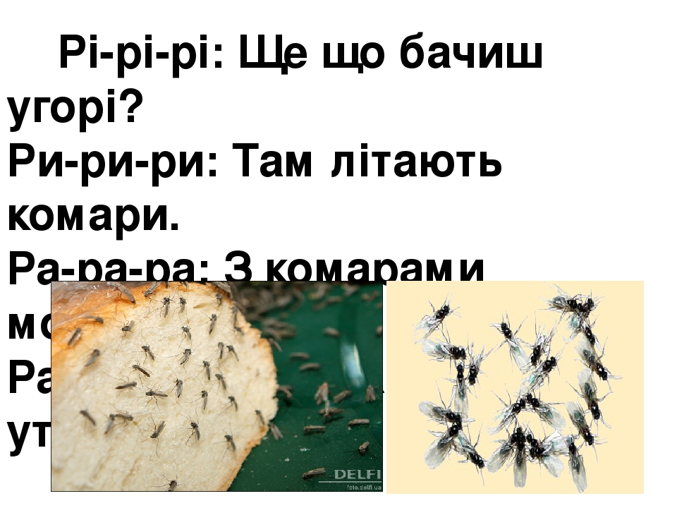Рі-рі-рі: Ще що бачиш угорі? Ри-ри-ри:Там літають комари. Ра-ра-ра:З комарами мошкара. Ра-ра-ра:Розбігаймось до утра!