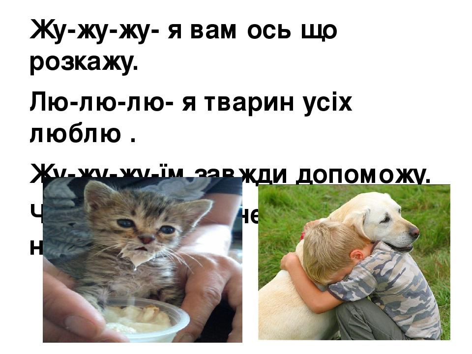 Жу-жу-жу- я вам ось що розкажу. Лю-лю-лю- я тварин усіх люблю . Жу-жу-жу-їм завжди допоможу. Чив-чив-чив-мене тато так навчив.