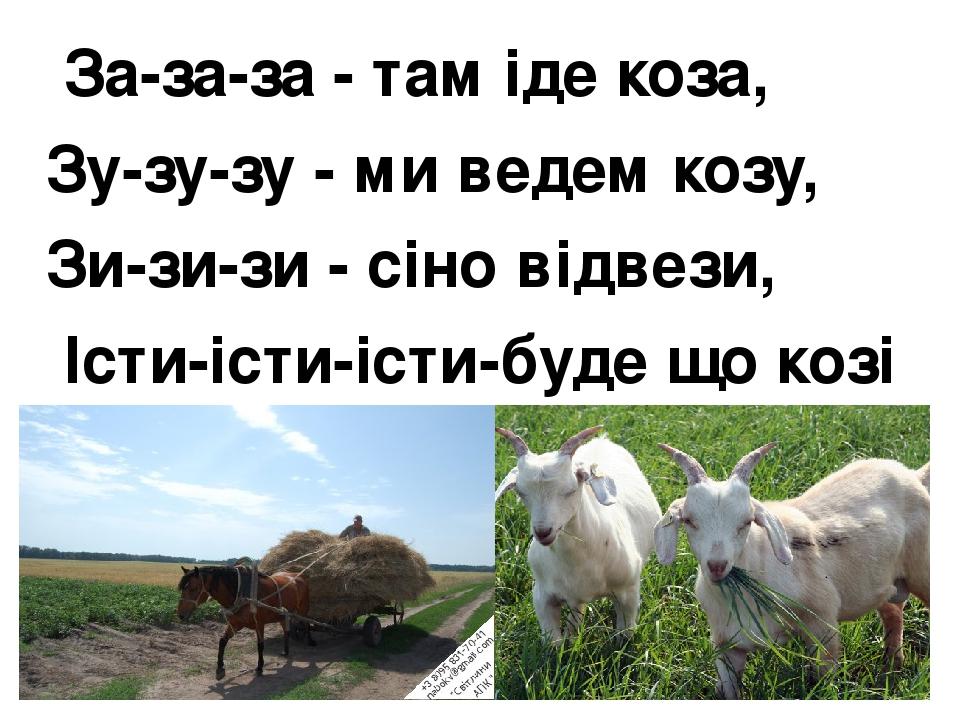За-за-за - там іде коза, Зу-зу-зу - ми ведем козу, Зи-зи-зи - сіно відвези, Істи-істи-істи-буде що козі їсти.