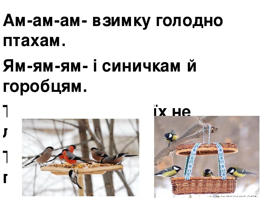 Ам-ам-ам- взимку голодно птахам. Ям-ям-ям- і синичкам й горобцям. Те-те-те- ви в біді їх не лишайте. Те-те-те- в годівничках пригощайте.