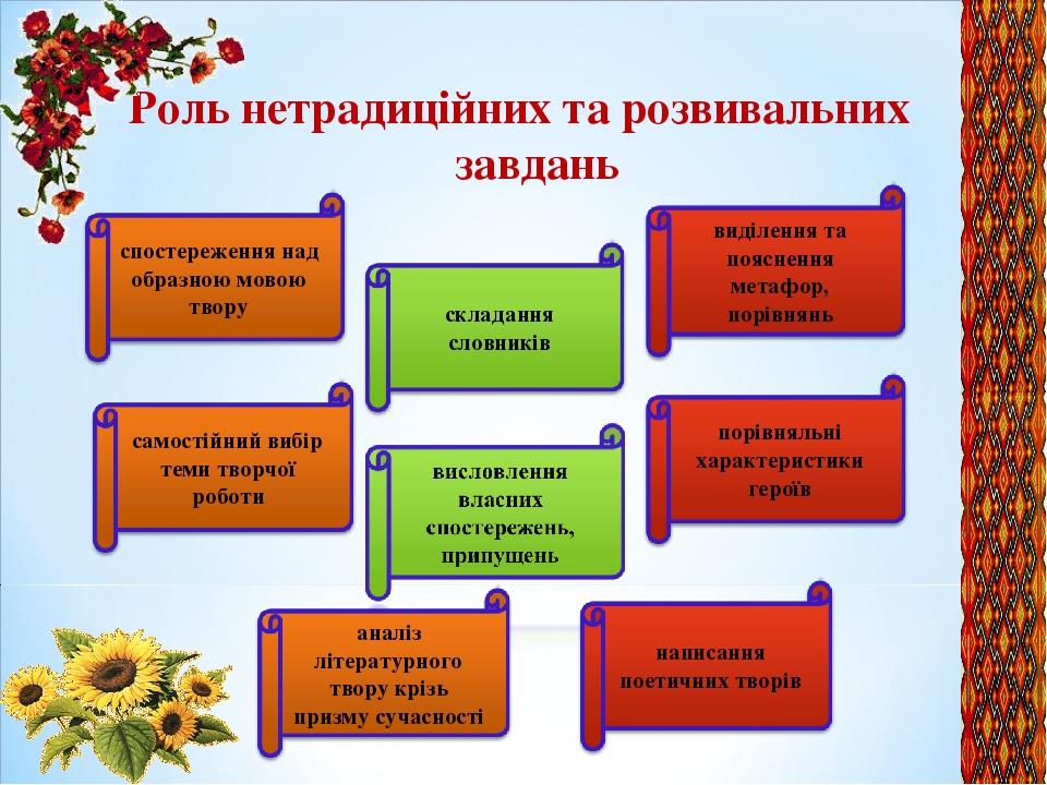 Роль нетрадиційних та розвивальних завдань