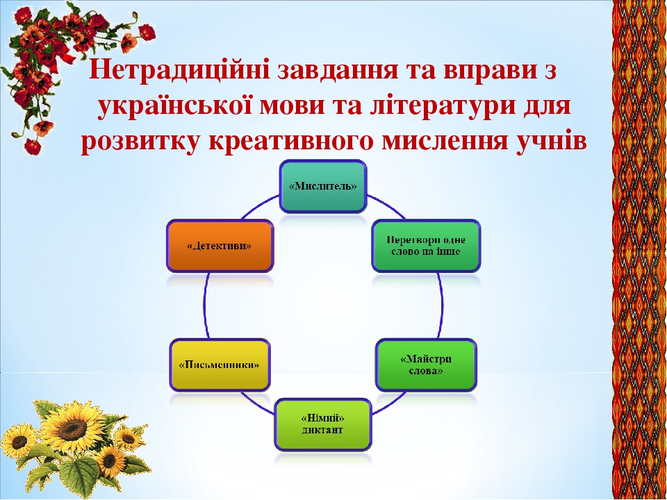 Нетрадиційні завдання та вправи з української мови та літератури для розвитку креативного мислення учнів