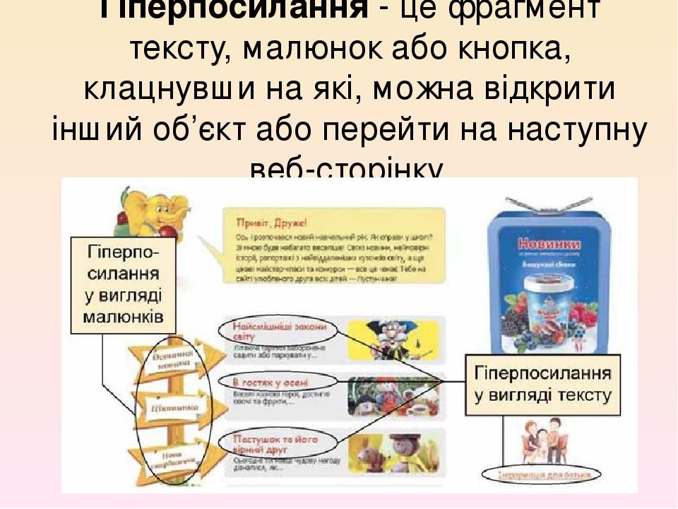 Гіперпосилання - це фрагмент тексту, малюнок або кнопка, клацнувши на які, можна відкрити інший об'єкт або перейти на наступну веб-сторінку.