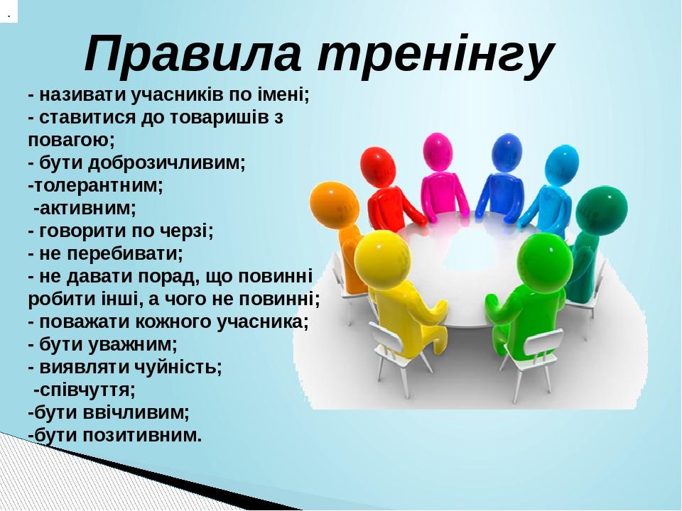 . - називати учасників по імені; - ставитися до товаришів з повагою; - бути доброзичливим; -толерантним; -активним; - говорити по черзі; - не переб...