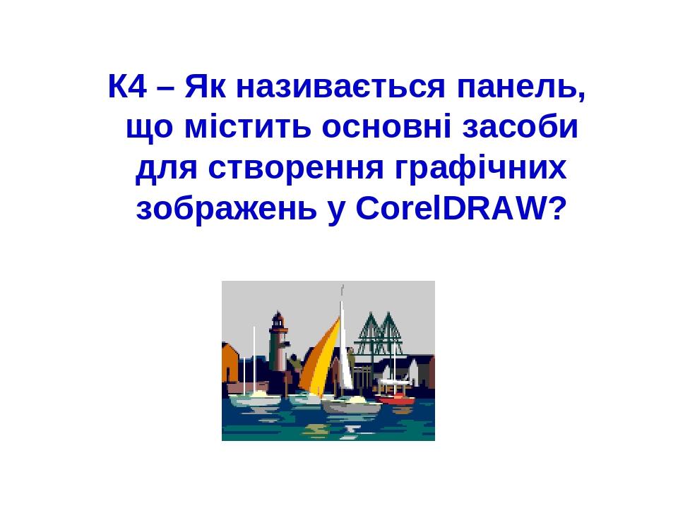 К4 – Як називається панель, що містить основні засоби для створення графічних зображень у CorelDRAW?