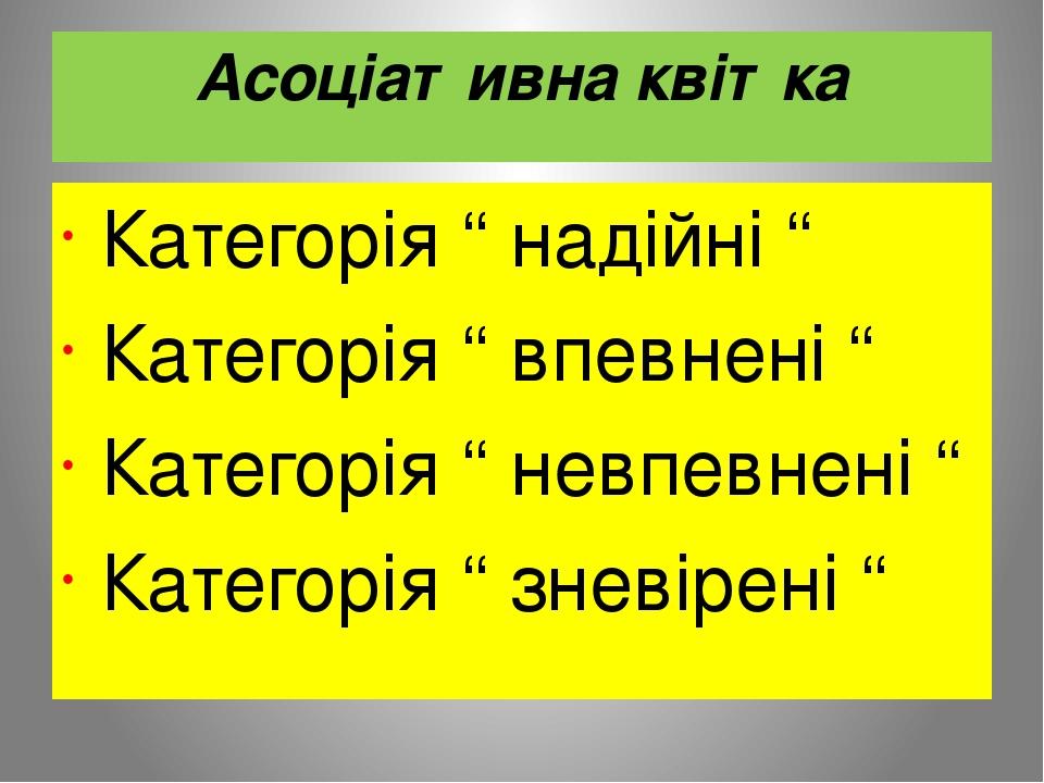 """Асоціативна квітка Категорія """" надійні """" Категорія """" впевнені """" Категорія """" невпевнені """" Категорія """" зневірені """""""
