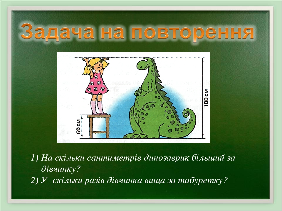 На скільки сантиметрів динозаврик більший за дівчинку? У скільки разів дівчинка вища за табуретку?