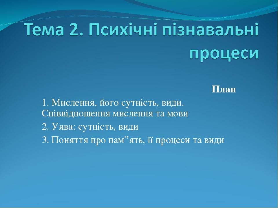 """План 1. Мислення, його сутність, види. Співвідношення мислення та мови 2. Уява: сутність, види 3. Поняття про пам""""ять, її процеси та види"""
