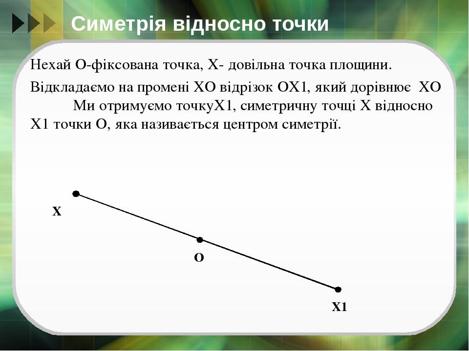 Симетрія відносно точки Нехай О-фіксована точка, Х- довільна точка площини. Відкладаємо на промені ХО відрізок ОХ1, який дорівнює ХО Ми отримуємо т...