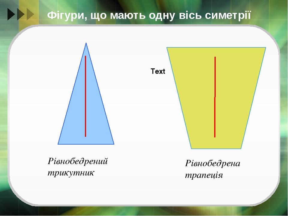 Фігури, що мають одну вісь симетрії Text Рівнобедрений трикутник Рівнобедрена трапеція