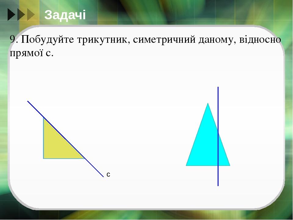 Задачі 9. Побудуйте трикутник, симетричний даному, відносно прямої с. с