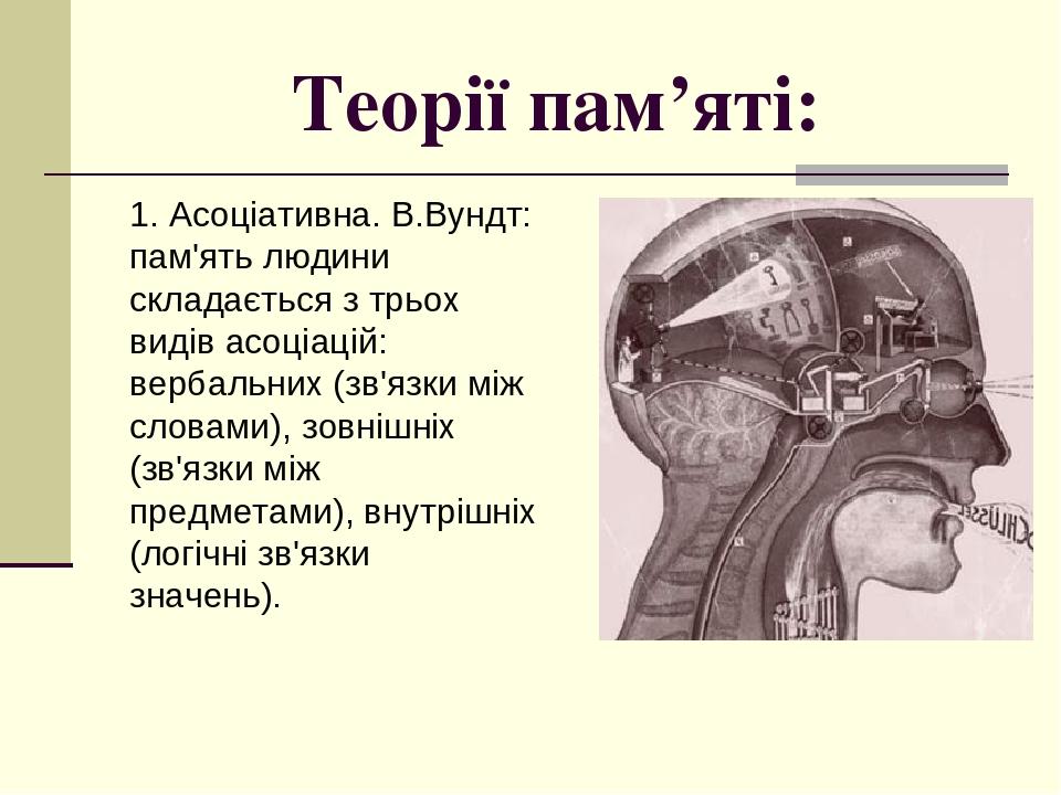 Теорії пам'яті: 1. Асоціативна. В.Вундт: пам'ять людини складається з трьох видів асоціацій: вербальних (зв'язки між словами), зовнішніх (зв'язки м...
