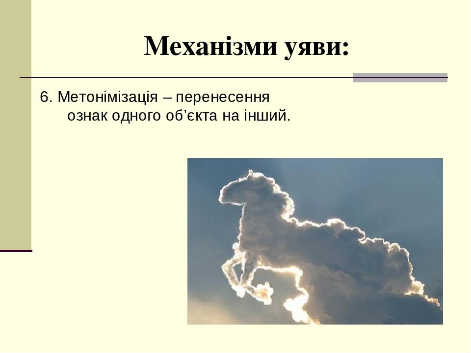 Механізми уяви: 6. Метонімізація – перенесення ознак одного об'єкта на інший.