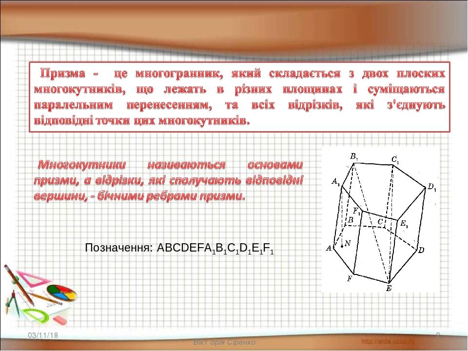 Вікторія Сіренко * * Позначення: ABCDEFA1B1C1D1E1F1 Вікторія Сіренко