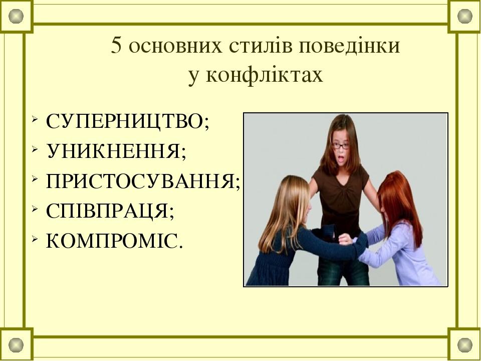 5 основних стилів поведінки у конфліктах СУПЕРНИЦТВО; УНИКНЕННЯ; ПРИСТОСУВАННЯ; СПІВПРАЦЯ; КОМПРОМІС.