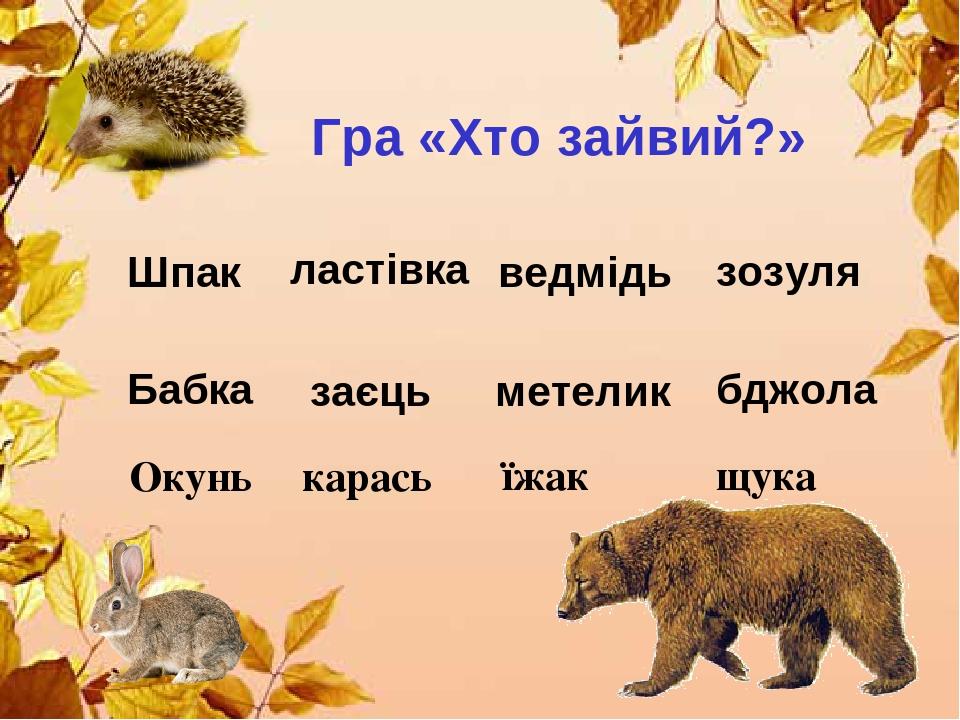 Гра «Хто зайвий?» Шпак ластівка ведмідь зозуля Бабка метелик заєць бджола Окунь карась їжак щука