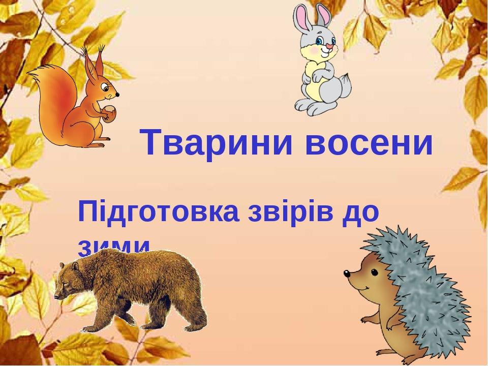 Тварини восени Підготовка звірів до зими