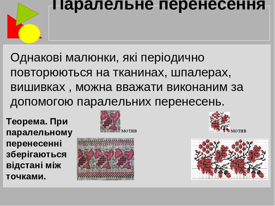 Однакові малюнки, які періодично повторюються на тканинах, шпалерах, вишивках , можна вважати виконаним за допомогою паралельних перенесень. Парале...