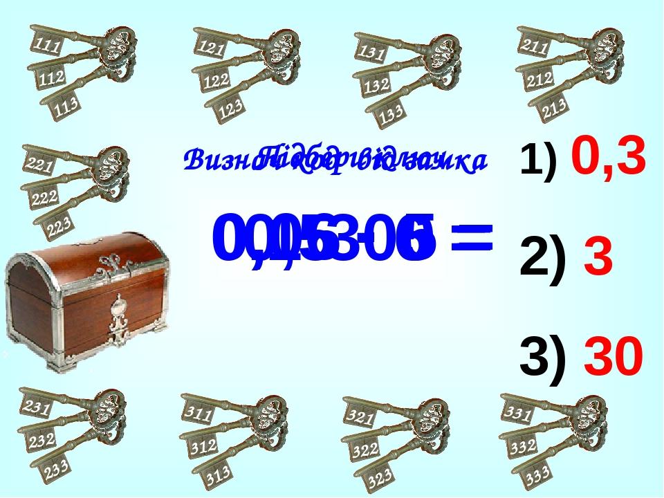 0,3 3 30 0,5 · 6 = 0,1·300 = 0,06 · 5 = Визнач код від замка Підбери ключ