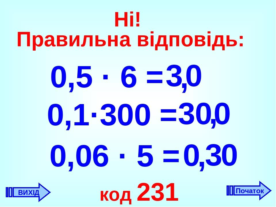 Ні! Правильна відповідь: 0,5 · 6 = 3 , 0 0,1·300 = 30 0 , , 0,06 · 5 = 3 0 код 231 ВИХІД Початок 0