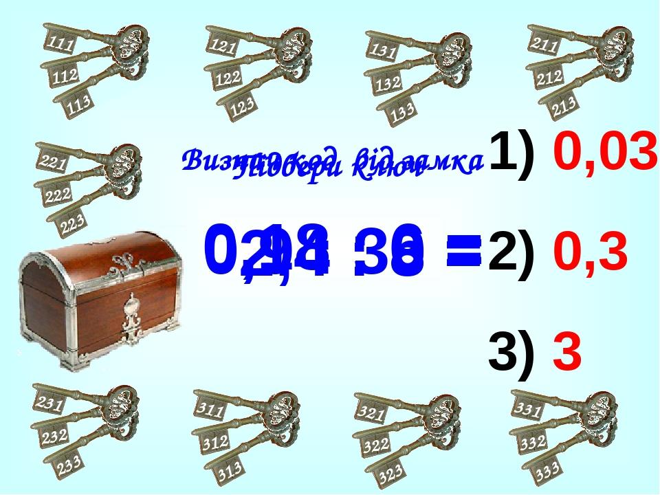 0,03 0,3 3 2,4 : 8 = 0,18 : 6 = 0,9 : 30 = Визнач код від замка Підбери ключ