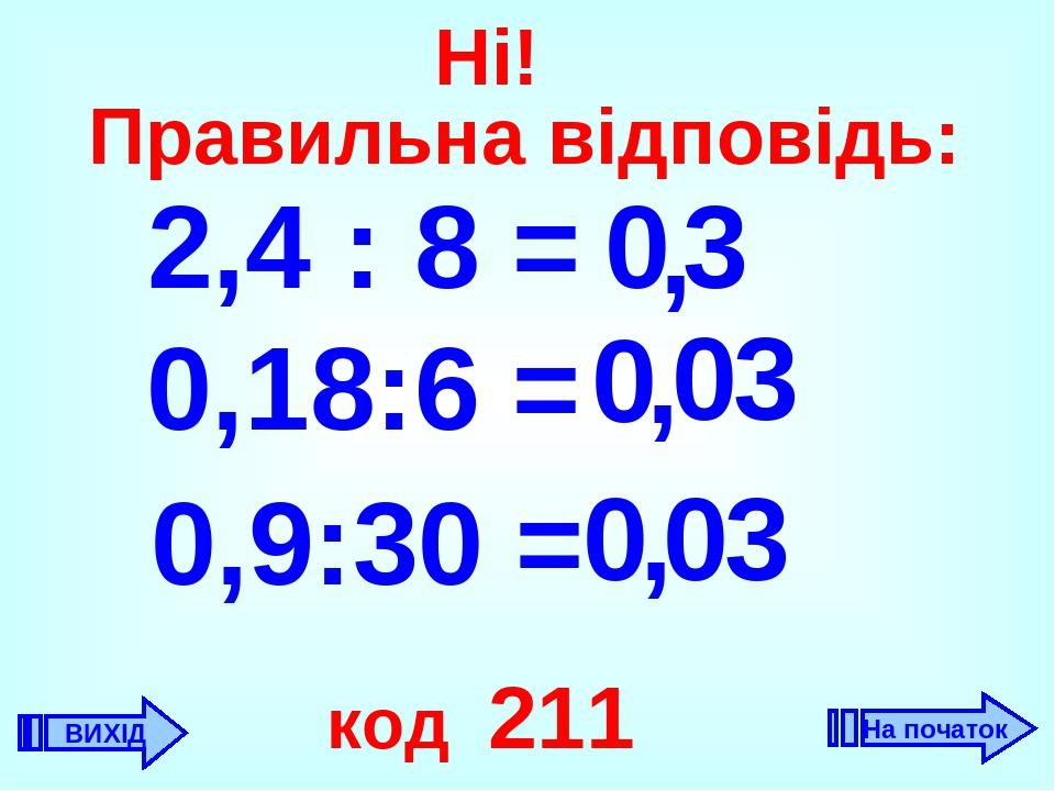 2,4 : 8 = 3 , 0 0,18:6 = 0 0 , , 0,9:30 = 3 0 3 0 код 211 ВИХІД Ні! Правильна відповідь: На початок