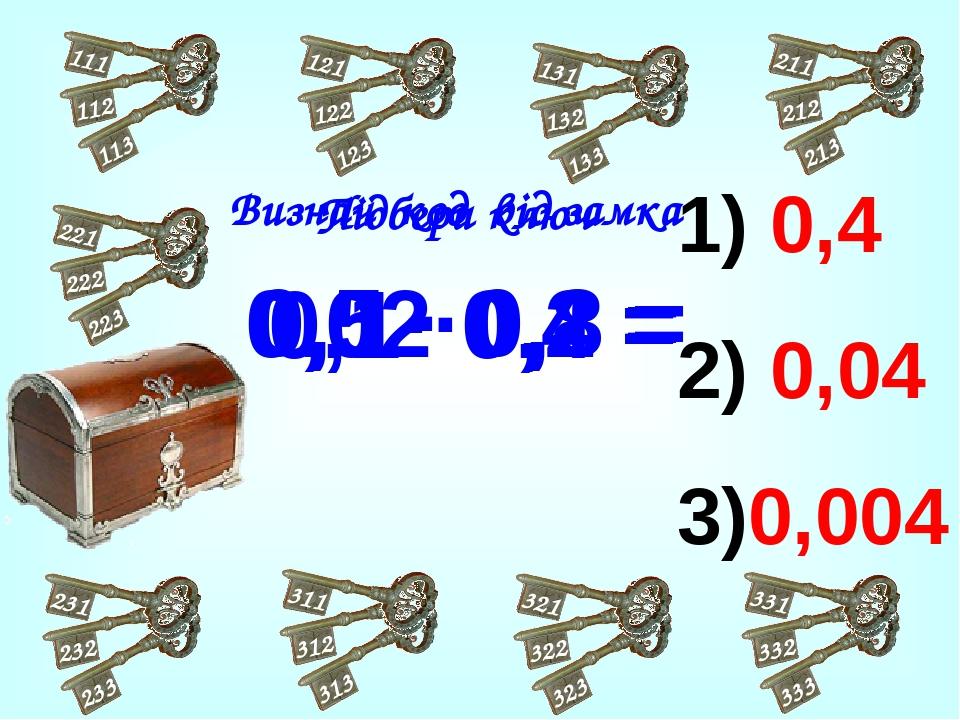 0,4 0,04 3)0,004 0,5 · 0,8 = 0,1· 0,4 = 0,02·0,2 = Підбери ключ Визнач код від замка