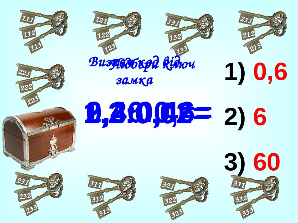 0,6 6 60 2,4:0,4= 0,36:0,6= 1,2:0,02= Підбери ключ Визнач код від замка