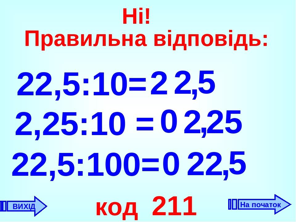 22,5:10= 2 , 2 2,25:10 = 0 2 , 22,5:100= 22 код 211 5 0 5 , 25 ВИХІД Ні! Правильна відповідь: На початок