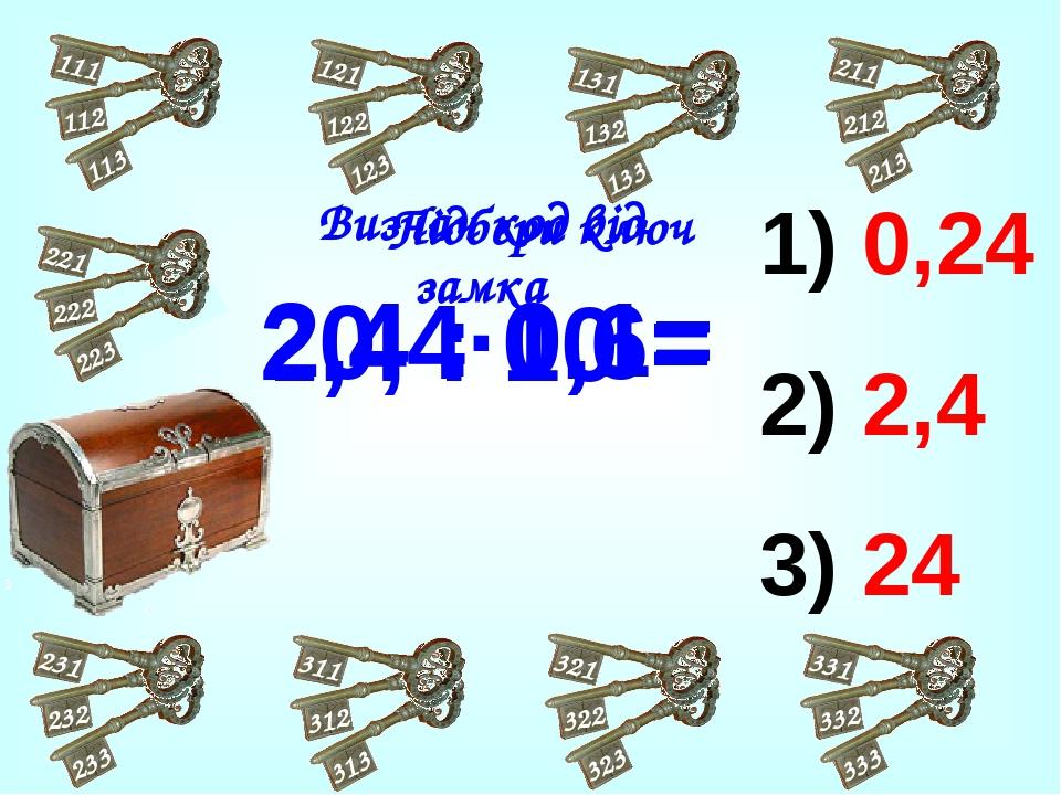 0,24 2,4 24 0,4·0,6= 2,4 : 0,1= 2,4 : 10 = Підбери ключ Визнач код від замка