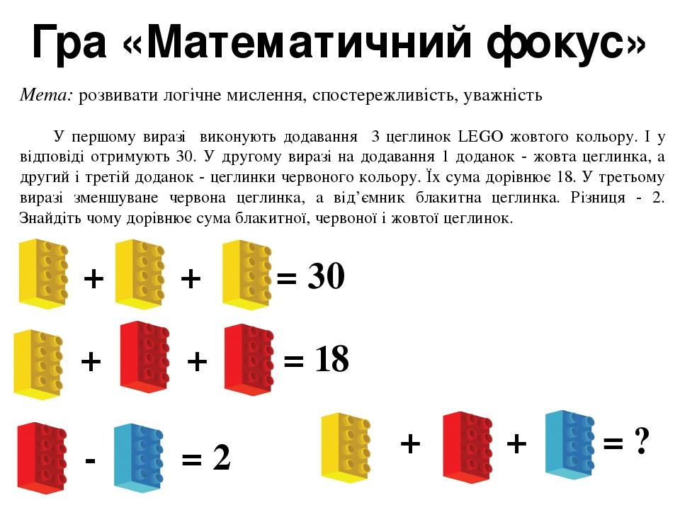 Гра «Математичний фокус» Мета: розвивати логічне мислення, спостережливість, уважність У першому виразі виконують додавання 3 цеглинок LEGO жовтого...