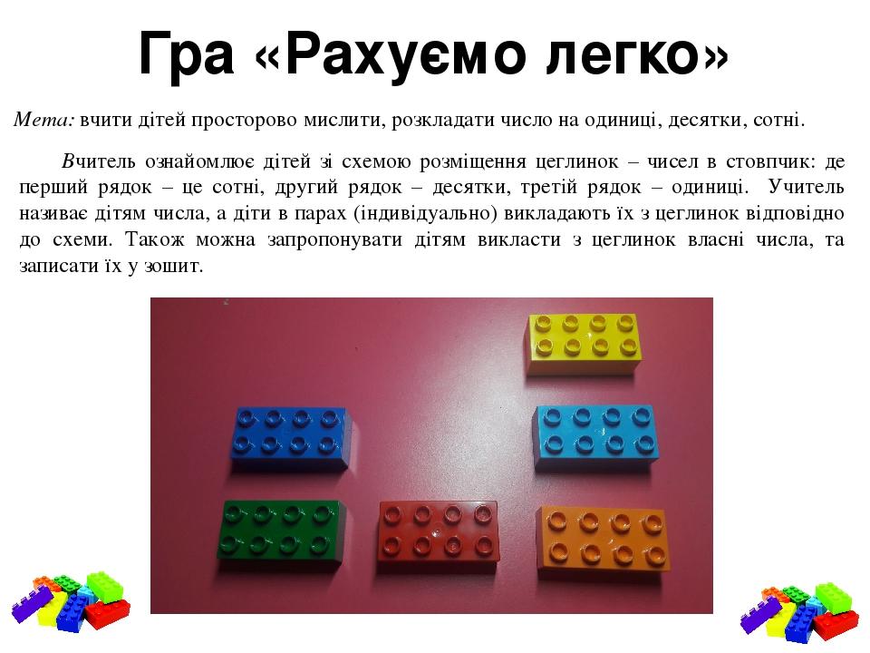 Гра «Рахуємо легко» Мета: вчити дітей просторово мислити, розкладати число на одиниці, десятки, сотні. Вчитель ознайомлює дітей зі схемою розміщенн...