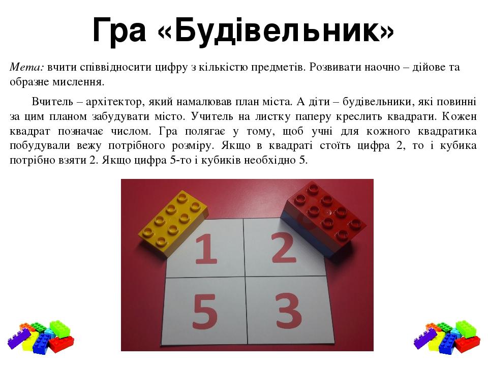 Гра «Будівельник» Мета: вчити співвідносити цифру з кількістю предметів. Розвивати наочно – дійове та образне мислення. Вчитель – архітектор, який ...