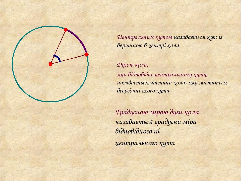 Центральним кутом називається кут із вершиною в центрі кола Дугою кола, яка відповідає центральному куту, називається частина кола, яка міститься в...
