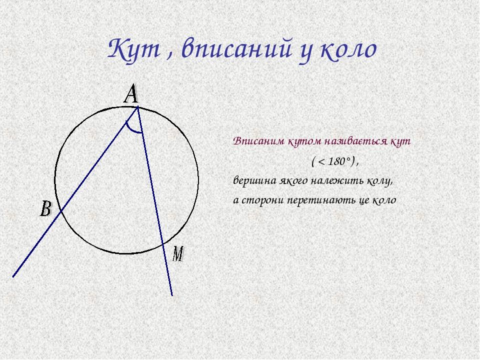 Кут , вписаний у коло Вписаним кутом називається кут ( < 180°) , вершина якого належить колу, а сторони перетинають це коло