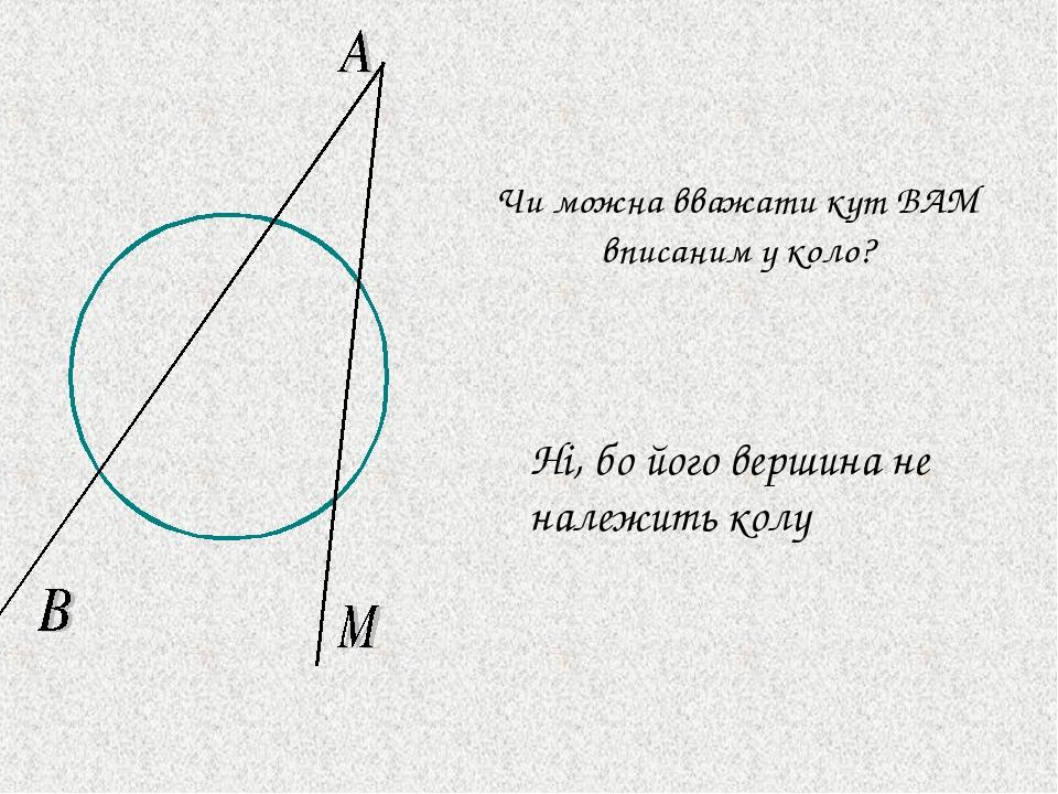 Чи можна вважати кут BAM вписаним у коло? Ні, бо його вершина не належить колу