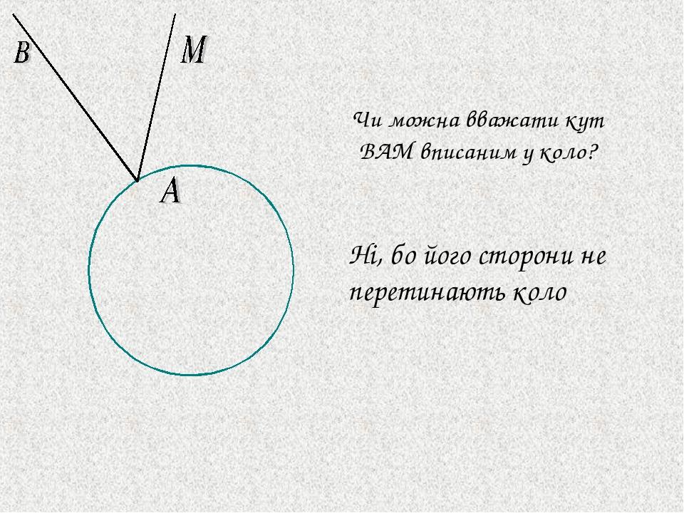 Ні, бо його сторони не перетинають коло Чи можна вважати кут BAM вписаним у коло?