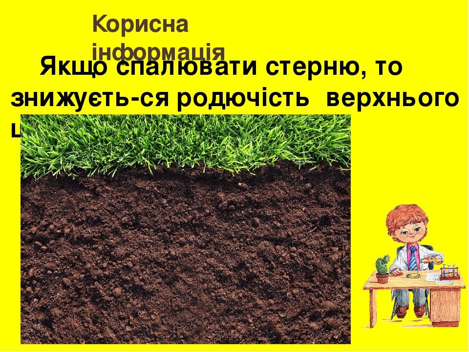 Корисна інформація Якщо спалювати стерню, то знижуєть-ся родючість верхнього шару ґрунту