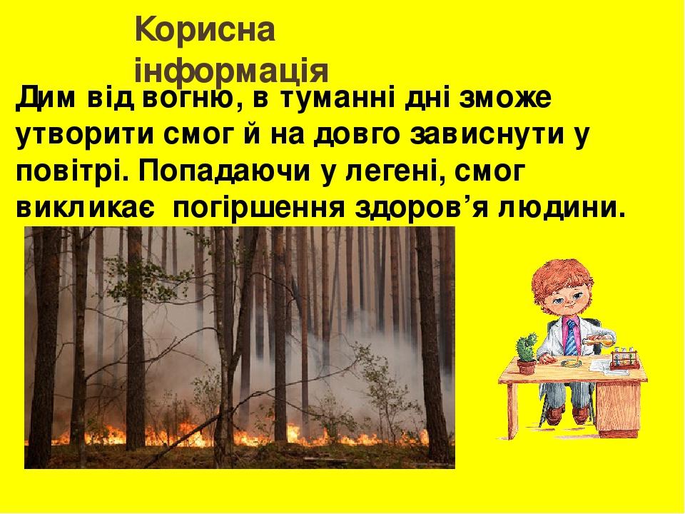 Корисна інформація Дим від вогню, в туманні дні зможе утворити смог й на довго зависнути у повітрі. Попадаючи у легені, смог викликає погіршення зд...