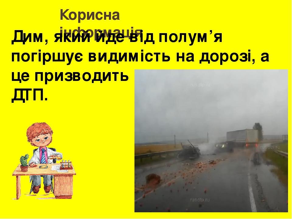 Корисна інформація Дим, який йде від полум'я погіршує видимість на дорозі, а це призводить до страшних ДТП.