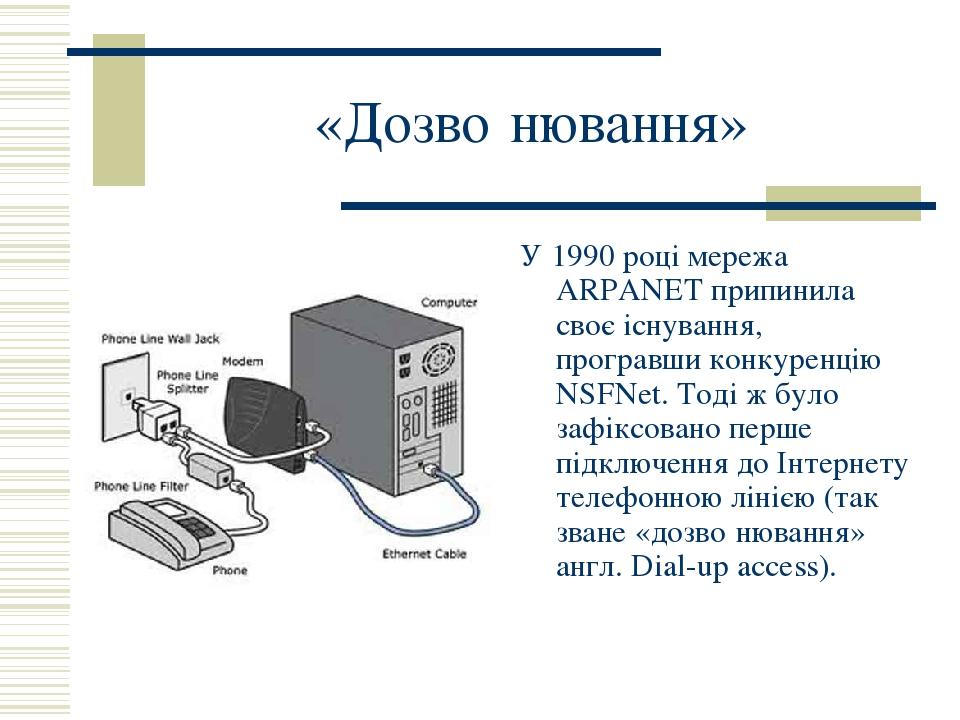 «Дозво́нювання» У 1990 році мережа ARPANET припинила своє існування, програвши конкуренцію NSFNet. Тоді ж було зафіксовано перше підключення до Інт...