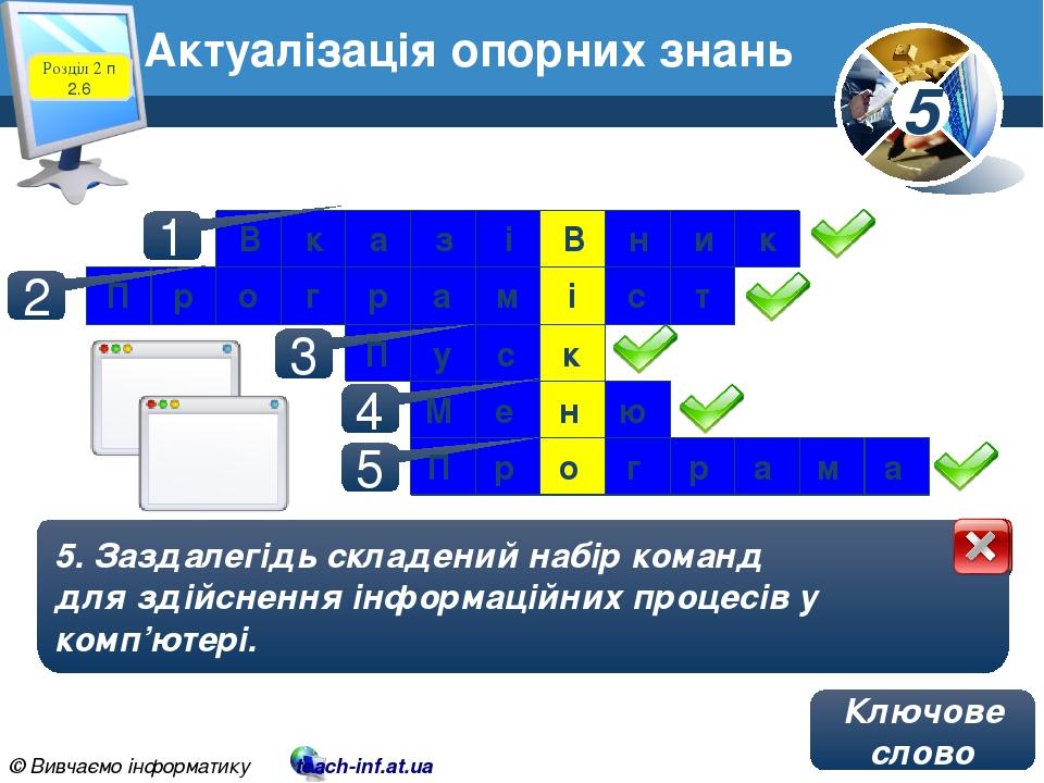 Актуалізація опорних знань 1. Об'єкт на екрані монітора, що змінює своє положення залежно від переміщення миші чи іншого пристрою введення даних. 1...