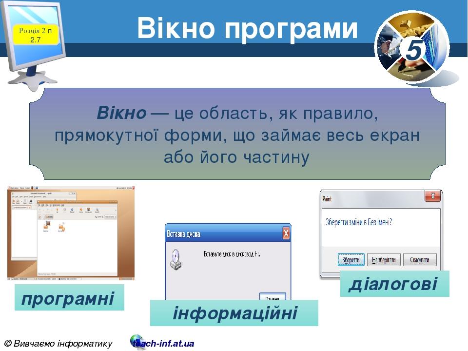 Розділ 2 п 2.7 Вікно програми Вікно — це область, як правило, прямокутної форми, що займає весь екран або його частину програмні діалогові інформац...