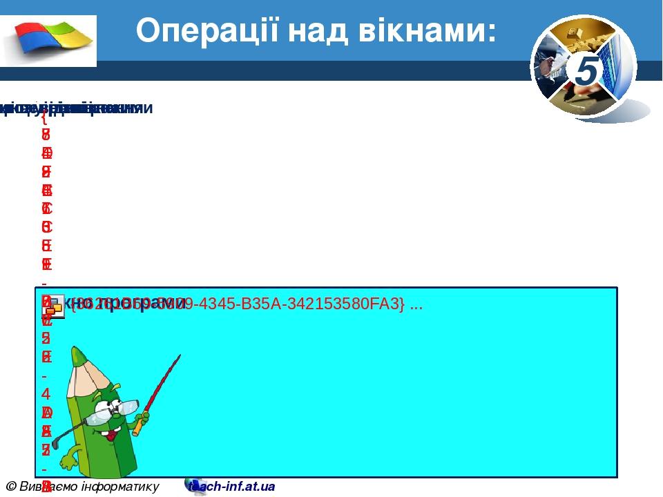 Операції над вікнами: 5 © Вивчаємо інформатику teach-inf.at.ua