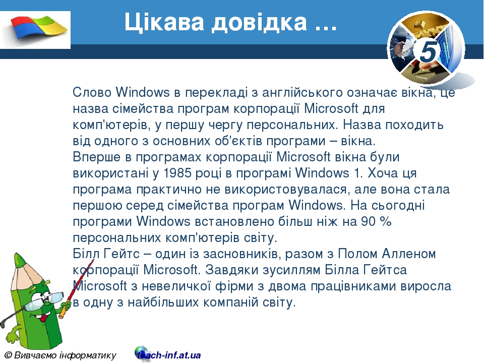 Цікава довідка … Слово Windows в перекладі з англійського означає вікна, це назва сімейства програм корпорації Microsoft для комп'ютерів, у першу ч...