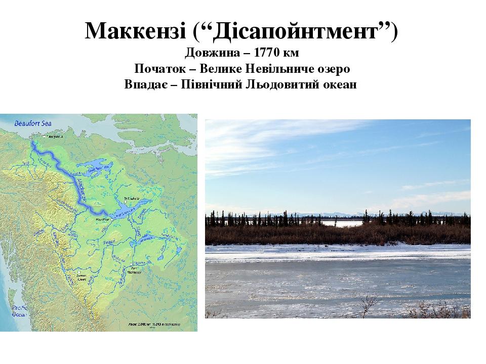 """Маккензі (""""Дісапойнтмент"""") Довжина – 1770 км Початок – Велике Невільниче озеро Впадає – Північний Льодовитий океан"""