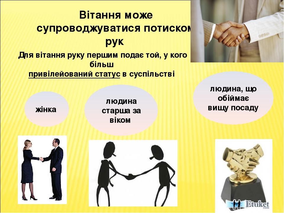 Вітання може супроводжуватися потиском рук Для вітання руку першим подає той, у кого більш привілейований статус в суспільстві жінка людина старша ...