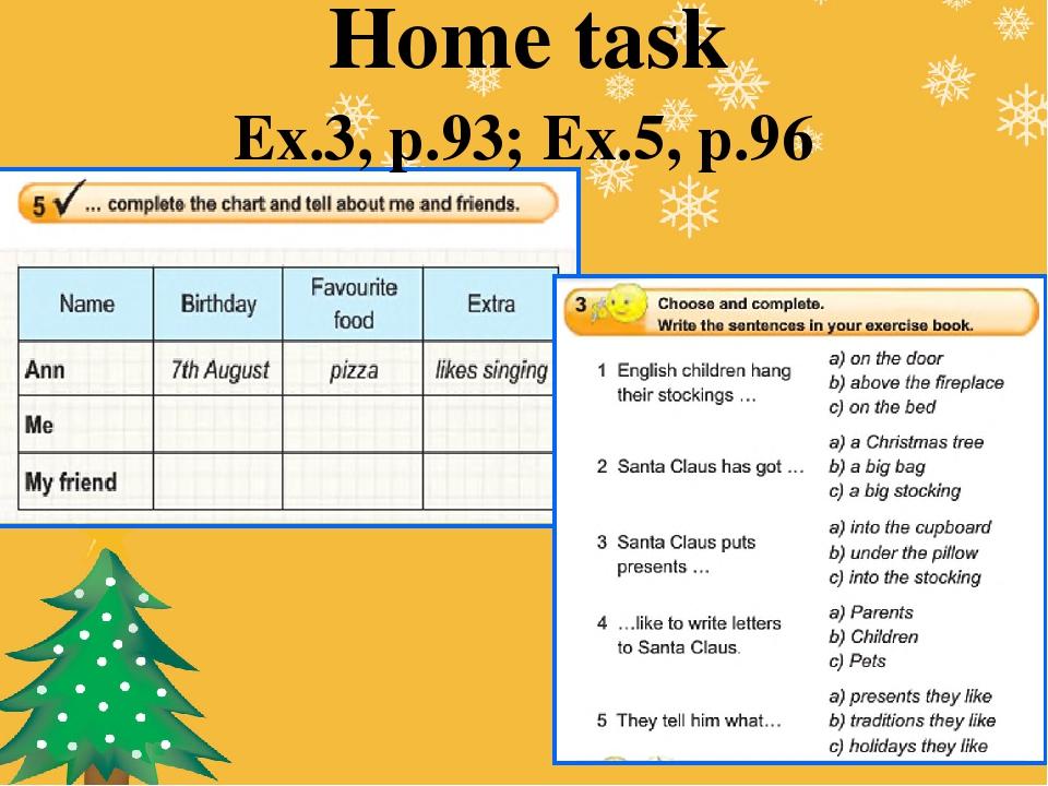 Home task Ex.3, p.93; Ex.5, p.96