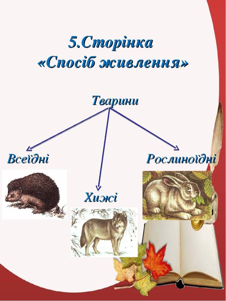 5.Сторінка «Спосіб живлення» Тварини Всеїдні Рослиноїдні Хижі