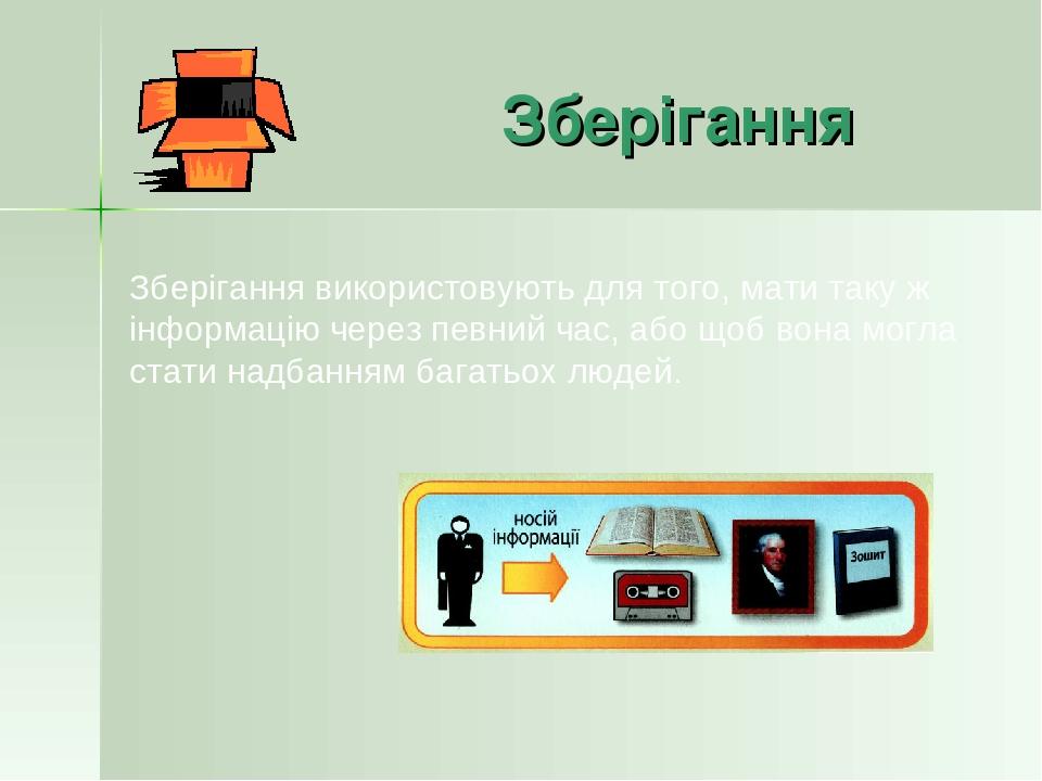 Зберігання Зберігання використовують для того, мати таку ж інформацію через певний час, або щоб вона могла стати надбанням багатьох людей.